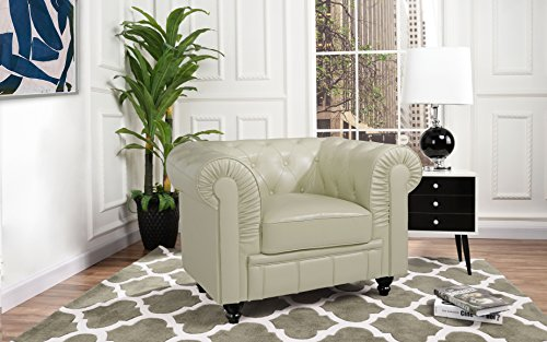 Divano Roma Classic Chesterfield Scroll Arm Tufted Leather Match Accent Chair (Beige) For Sale