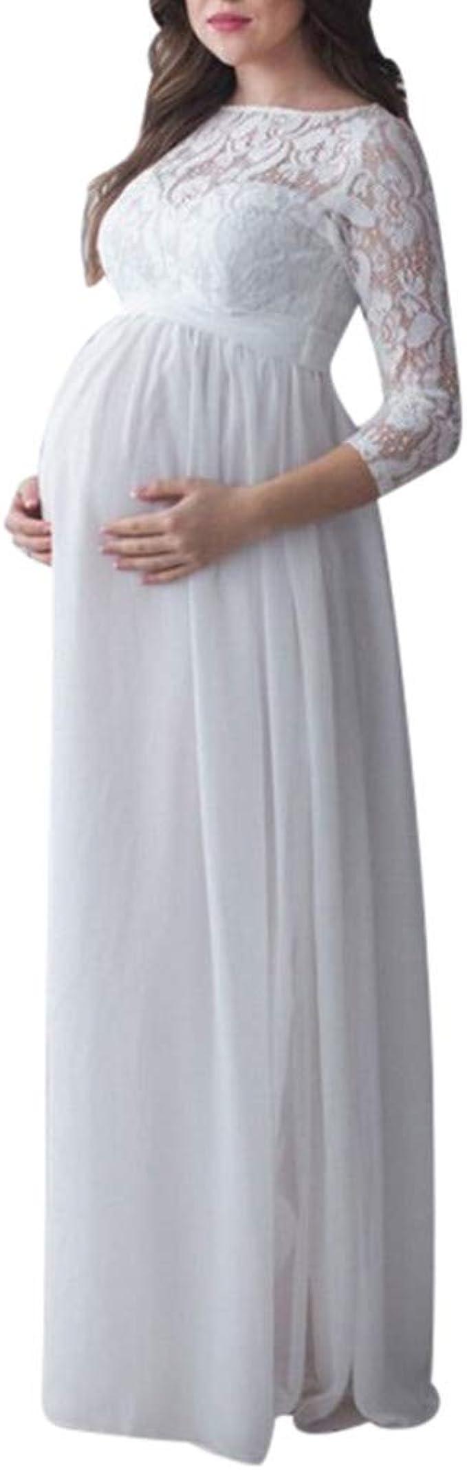 Vestido de Maternidad Mujeres Encaje Fiesta Largos Boda Vestido ...
