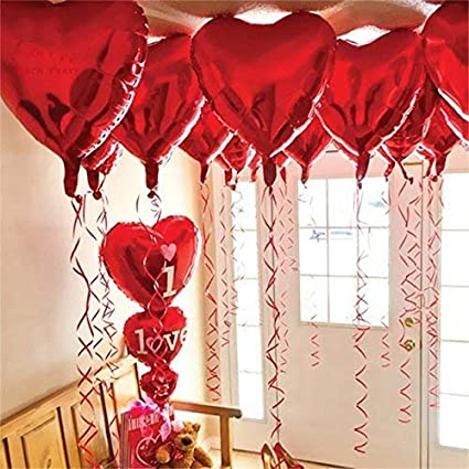 12 1 Red Heart Shape Balloons 1 I Love U Balloon Helium Supported Love Balloons Valentines Day Decorations And Gift Idea For Him Or Her