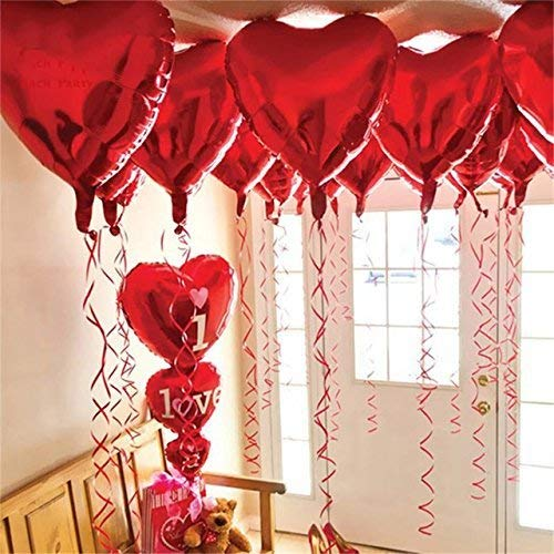 12 + 1 Red Heart Shape Balloons - 1 I Love U Balloon - Helium Supported - Love Balloons - Valentines Day Decorations and Gift Idea for Him or Her, Wedding Birthday Decorations,Ribbon & Straw Included -