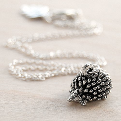 Cute Geeky Costumes (Enchanted Leaves - Little Silver Hedgehog Necklace - Cute Hedgehog Charm Necklace)