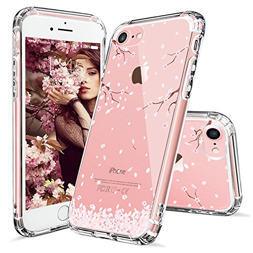 iPhone 8 Case, iPhone 7 Case, Cover iPhone 7, MOSNOVO Cherry Blossom Floral Printed Flower Clear Design Transparent Case with TPU Gel Bumper Protective Case Cover for iPhone 7 (2016) / iPhone 8 (2017)