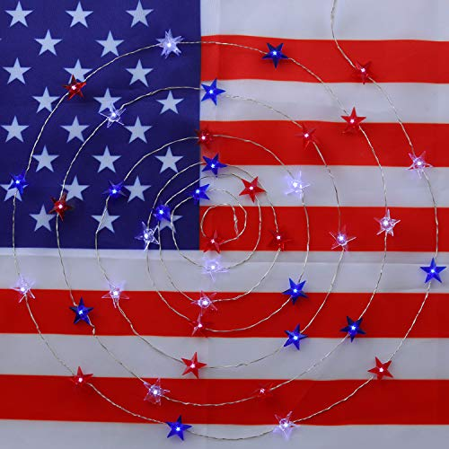 Price comparison product image JASHIKA 4th of July Memorial Day American Flag Stars Decoration String Lights 40LEDs Battery Operated with Multi-Function Remote for USA Independence Day Uncle Sam Party Accessories