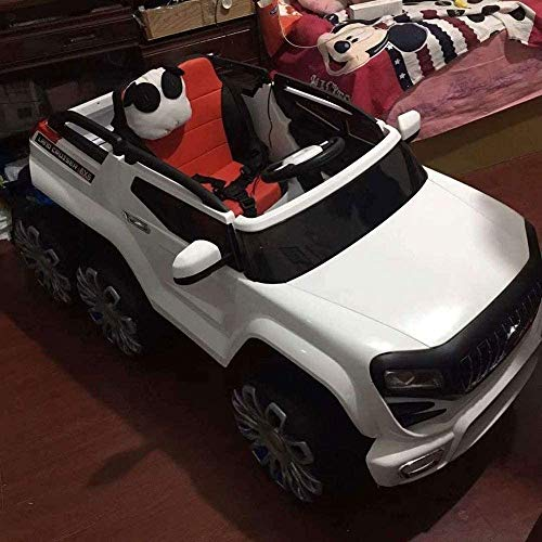 Bck Children's Electric Car Manual Operate & Parental Remote Control Six-Wheeled Four-Wheel Drive Remote Control Car Equipped with LED Lights Swing Double Off-Road Charging Can Sit People Toy Car