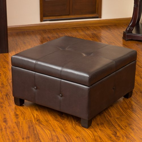 Christopher Knight Home 238927 Codi Leather Storage Ottoman Coffee Table Brown