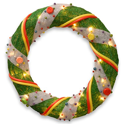National Tree 18 Inch Green Tinsel Wreath with 20 Clear L...