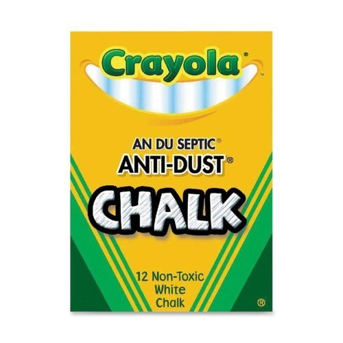 "Wholesale CASE of 25 - Crayola Anti-Dust Chalk-Anti-Dust Chalk, Nontoxic, 3-1/4""x3/8"", White"