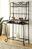 4-tier Black Metal Finish Shelf Kitchen Bakers Rack Scroll Design with 4 Bottles and Glass Wine Holder Storage Review