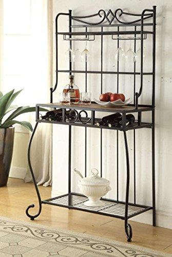 4-tier Black Metal Finish Shelf Kitchen Bakers Rack Scroll Design with 4 Bottles and Glass Wine Holder Storage