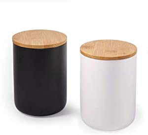 77L Ceramic Food Storage Jar with Storage Bag and Wooden Lid, (Set of 2) Food Storage Canister, 23.34 FL OZ (720 ML) Portable Airtight Food Storage Jar for Coffee, Nuts, Tea and More (White and Black)