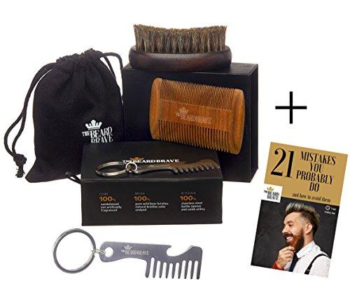 Beard Comb and Beard Brush Set – Grooming Kit for Men – Sandalwood Beard Comb & 100% Boar Bristle Brush – Premium by The Beard Brave – Keychain Bottle Opener and E-Book Included
