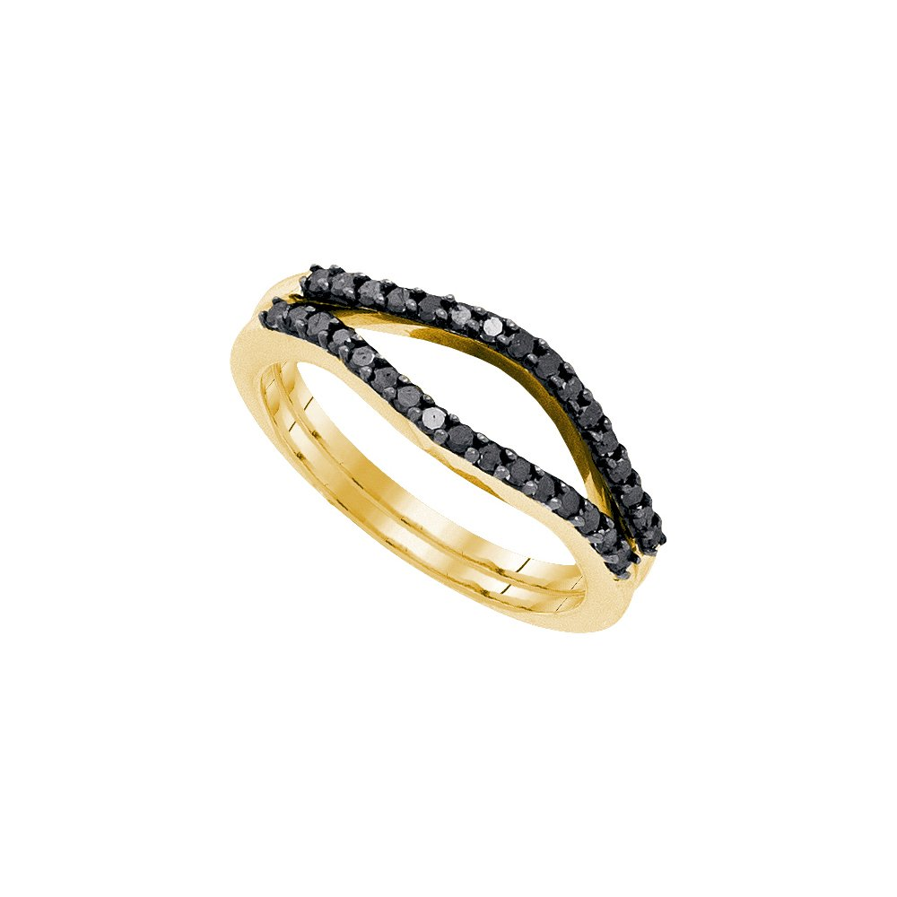 Size - 9 - Solid 10k Yellow Gold Round Black Diamond Channel Set Curved Ring Jacket Wedding Band OR Fashion Ring (1/3 cttw) by Sonia Jewels