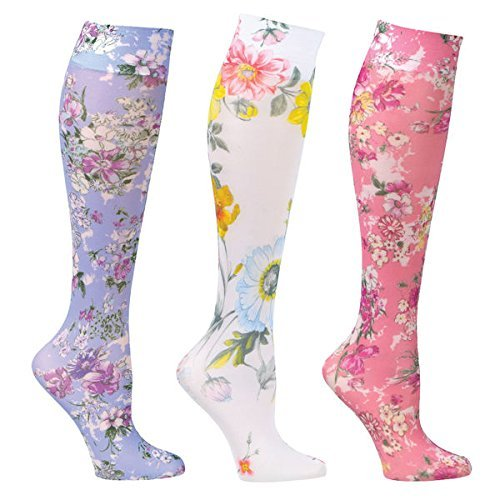 Women's Mild Compression Wide Calf Knee High Support Socks, Floral Prints, One size fits most (8-15 mm/Hg)