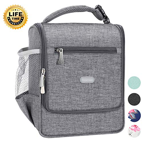 Amersun Insulated Lunch Box,Spacious Stylish Lunch Bag Cooler Lunchbox Sturdy Snack Organizer with Multi-pockets for Kids Women Men Adult Boys School Office Picnic Work Bento Box(Spill-resistant,Gray)