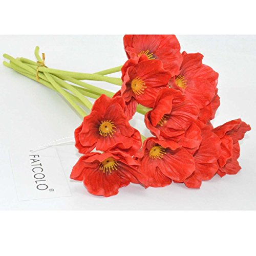 Red poppy flowers amazon 10 pcs new arrivals high quaulity fresh artificial mini real touch pu latex corn poppies decorative silk fake artificial poppy flowers for wedding holiday mightylinksfo