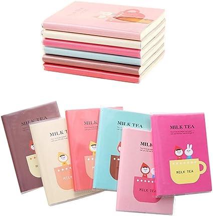 Shulaner Cuaderno Pequeño Notas, 60 hojas Lineas, Tamaño Pequeño, 12 x 9 cm, Mini Bloc de Notas Kawaii Milk Tea Small Notebooks, Pack de 6: Amazon.es: Oficina y papelería