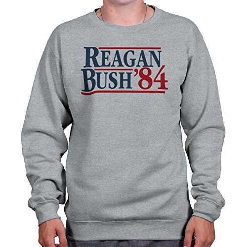 Brisco Brands Ronald Reagan George Bush 84 Campaign Shirt | USA Cool Gift Sweatshirt (George Bush Usa Flag)