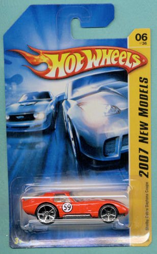 (Mattel Hot Wheels 2007 New Models 1:64 Scale Red Shelby Cobra Daytona Coupe Die Cast Car #006)