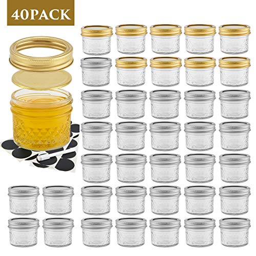4OZ Mason Jars with Lids, 40 Pack Canning Jars, Crystal Food Storage Jelly Jars for Jam, Honey, Wedding Favors, Baby Foods, DIY Spice Jars