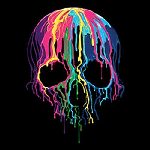 Neon Tank-Top - Melting Skull - bedrucktes Achselshirt mit Neon-Bild als Geschenk Idee mit Totenkopf Schädel Halloween