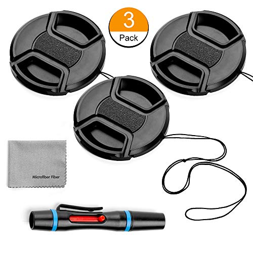 62mm Lens Cap Bundle, 3 Pack Universal Snap on Front Centre Pinch Lens Cover Set with Microfiber Lens Cleaning Cloth for Canon Nikon Sony Olympus DSLR Camera + Camera Lens -