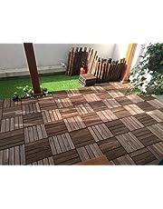 Yanoen Outdoor Living Interlocking Flooring Tiles in Solid Teak Wood (Set of 10pcs)