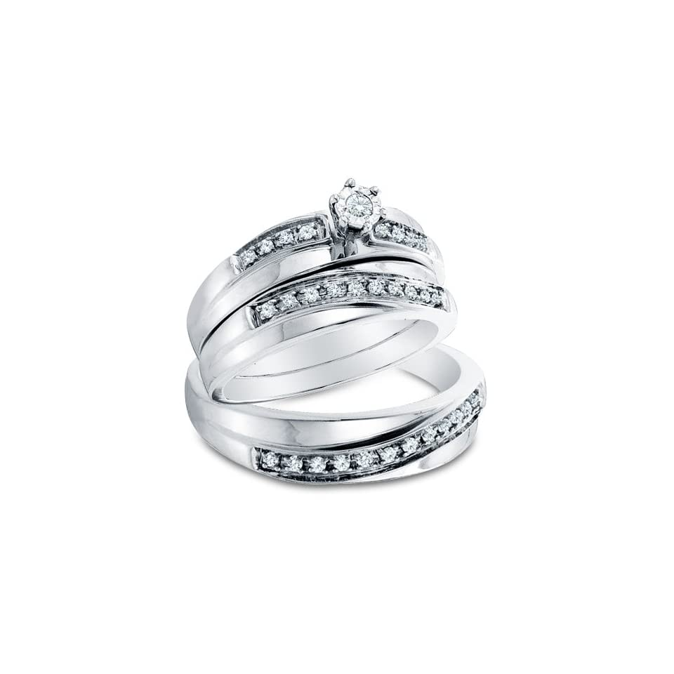 """14k White OR Yellow Gold Diamond Mens And Ladies Couple His & Hers Trio 3 Three Ring Bridal Matching Engagement Wedding Ring Band Set (0.26 cttw.)   SEE """"PRODUCT DESCRIPTION"""" TO CHOOSE BOTH SIZES Sonia Jewels Jewelry"""