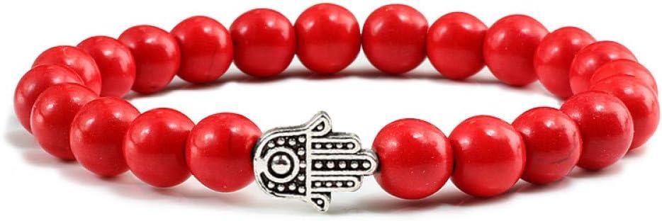 WOVP Pulsera Rojo/Blanco Oro Plata Mini Mano Colgante Pulseras Piedra Natural Porcelana Blanca Turquesas Puras Meditación Hecha A Mano Personalizada