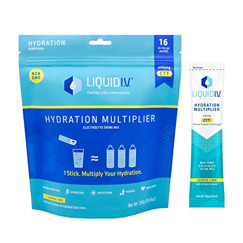 Liquid I.V. Hydration Multiplier, Electrolyte Powder, Easy Open Packets, Supplement Drink Mix (Lemon Lime, 16 Count) (Best Pills For Staying Hard)