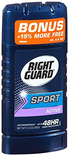Right Guard Sport Active 48 HR Odor Protection Anti-Perspirant Deodorant, 2.6 oz (Pack of 6)