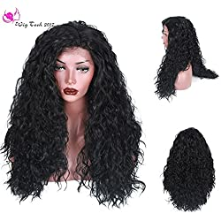 WigTech2017 250nsity Synthetic Lace Front Loose Curly 24 Inch Black Color Heat Resistant Fiber Wigs With Baby Hairs For All Skin Tones Women