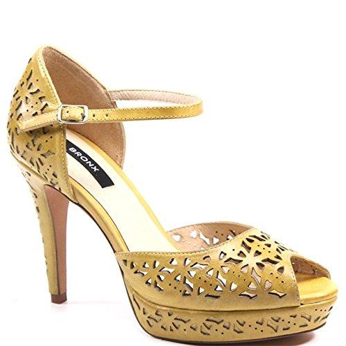 (Bronx Sea Side Leather Peep Toe Heel (37) Yellow)