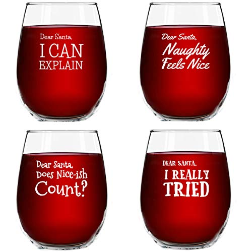 Dear Santa Funny Christmas Stemless Wine Glass (Set of 4) - 15 oz - Naughty, Cheerful Holiday Party Cups- Gift Exchange Idea to Celebrate X'mas (Exchange Gift Party Ideas)