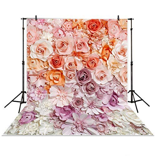 Allenjoy 5x7ft Floral Backdrop for Photography Pictures Paper Flower Wall Gorgeous Wedding Baby Shower Beautiful Bride Bridal Shower Background Props Decorations photocall photobooth Photo Studio
