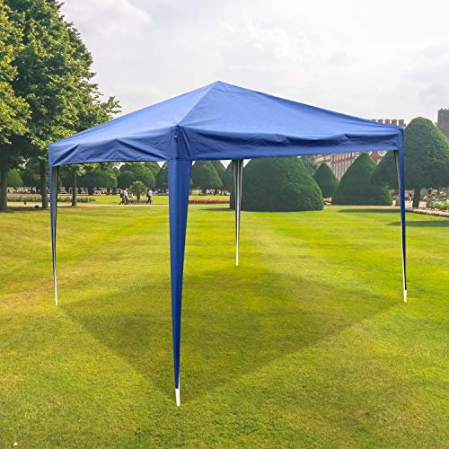 CharaVector Heavy Duty Ez Pop Up Gazebo Canopy Tent for Outdoor Waterproof Party Wedding Exhibition Pavilion BBQ Beach Car Shelter (10x10, Blue)