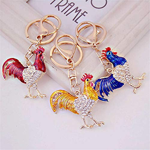 Chicken Shape Crystal Rhinestone Keychain Key Chain Sparkling Key Ring Charm Purse Pendant Handbag Bag Decoration Holiday Gift (3 Pack)
