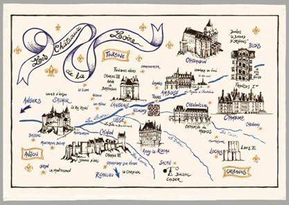 carte des chateau de la loire TORCHON IDEE CADEAU CARTE DES CHATEAUX DE LA LOIRE: Amazon.fr