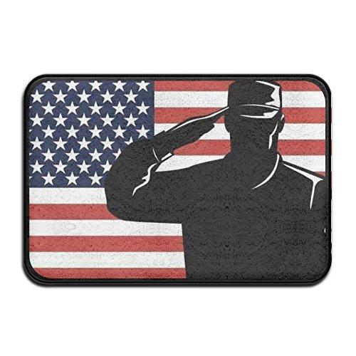 oldier Military Salute USA American Flag Doormat Outdoor Indoor Rubber Door Mats Thin Non Slip Carpets for Front Door Kitchen Bedroom Garden 24in16in ()