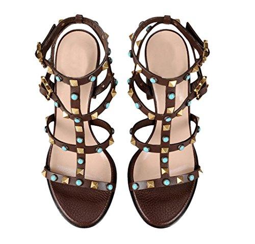 AIWEIYi - Sandalias mujer marrón
