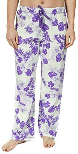 Leisureland Women's Cotton Knit Lounge Pajama Pants Vintage Hibiscus Floral Aqua (Floral Print Knit Pajamas)
