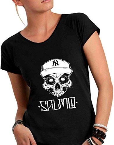 Italy Ampio SALMO Made in T Humor Taglio a Cotone Vivo Donna Scollo Nero Divertente Fiammato Shirt AqzT6