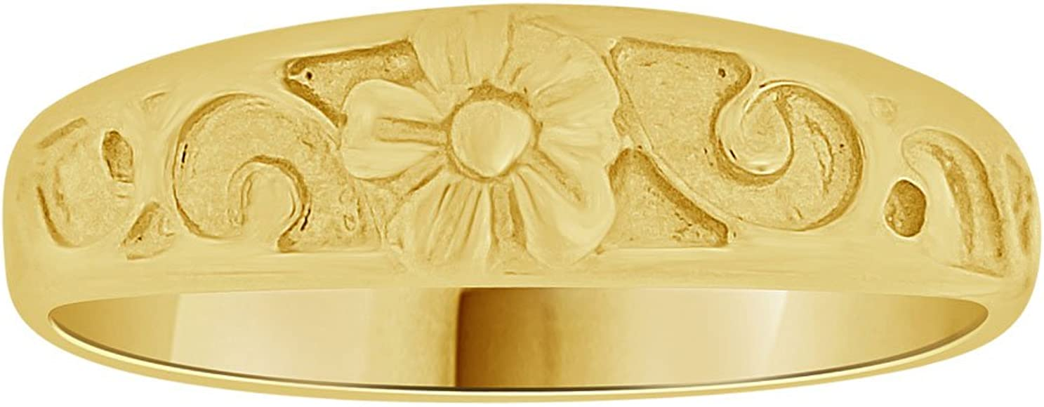Small Size Baby Child Kid Ring Lady Pinky Ring Band Flower Design 14k Yellow Gold
