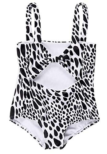 (Little Baby Girls Leopard Swimsuit One Piece Water Droplet Swimwear Rash Guard Sun Protection UPF50+ Size 7-8 years/Tag120 (Black) )