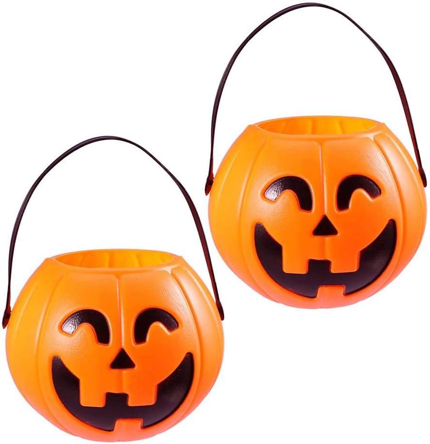 Toyvian 17cm Halloween Portable Pumpkin Bucket Children Trick or Treat Pumpkin Candy Pail Holder 2 Pieces
