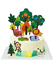 33 Pcs Forest Tree Cupcake Toppers Jungle Animal Cake Decoration for Jungle Safari Theme Party Kid Birthday Party