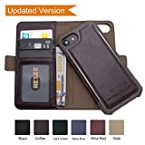 iPhone 8/7/6s/6 Wallet Leather Case[Detachable 2 in1 Cover], Resee Card Holder Magnetic Case, RFID Blocking, Shock Absorption Hard Cover- Coffee