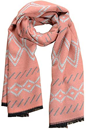 Women Warm Plaid Winter Scarf Gorgeous Blanket Wraps Cape Shawl Pink
