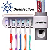 Smartbuy UV Toothbrush Holder, Toothpaste Dispenser Wall Mounted Toothbrush Holder & Automatic Toothpaste Holder with 5 Toothbrush Sterilizer Holder for Kids and Adults(White)