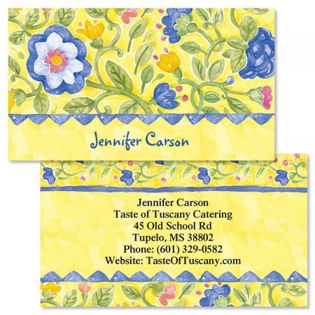 Tuscan Sun Double-Sided Business Cards - Set of 250 2'' x 3-1/2 custom business card design; 80# Cover Stock, Opaque, Matte