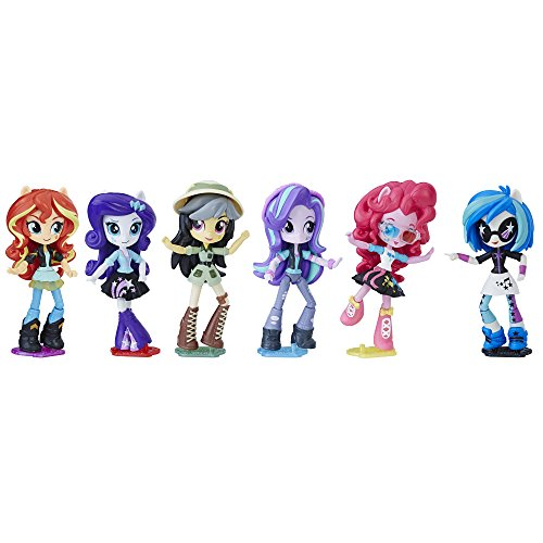 My Little Pony C0410AF1 Equestria Girls Toys Glimmer, Daring Do Dazzle, Pinkie Pie, Sunset Shimmer, Rarity, and DJ Pon-3 Mini-Dolls , Pack of 6 (Amazon Exclusive) (My Little Pony Dj Pon 3 Doll)